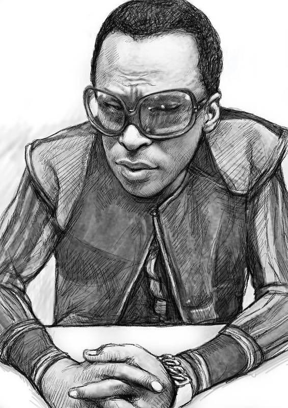 Miles Davis Art Drawing Sketch Portrait Poster