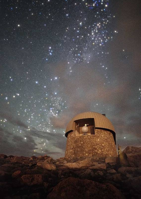 All Rights Reserved Poster featuring the photograph Milky Way Clouds Over The Mount Evans Observatory by Mike Berenson