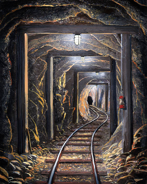 Mural Poster featuring the painting Mine Shaft Mural by Frank Wilson