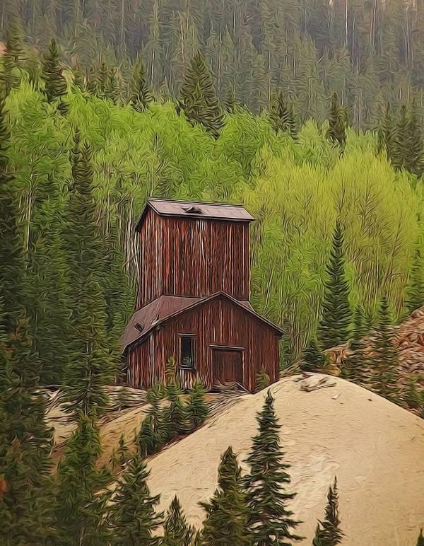 Old Mining Building Silverton Colorado Poster featuring the digital art Mining Building In Colorado by Dan Sproul