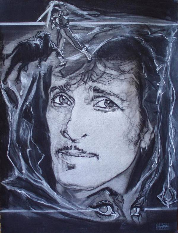 Charcoal;mink Deville;new York City;gina Lollabrigida Eyes ;cat Eyes;bullfight;toreador;swords;death;smoke;blues Poster featuring the drawing Willy Deville - Coup De Grace by Sean Connolly