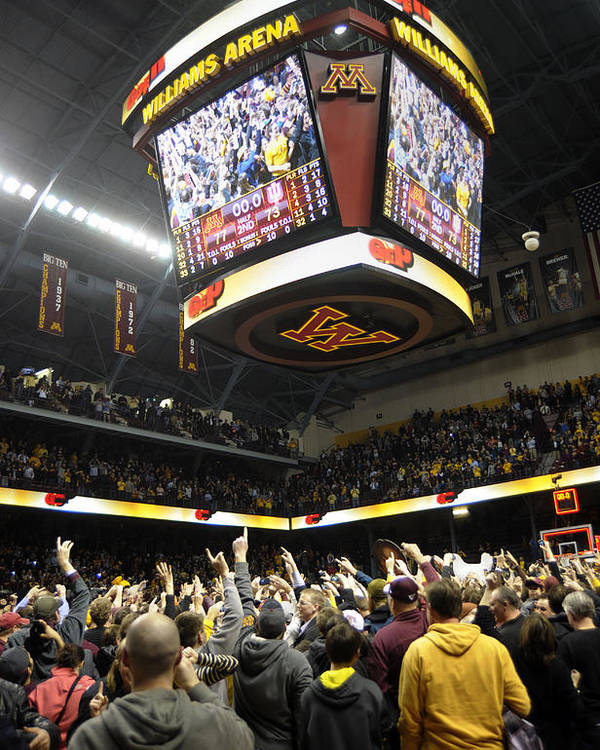 Williams Arena Poster featuring the photograph Minnesota Fans Celebrate Victory At Williams Arena by Replay Photos