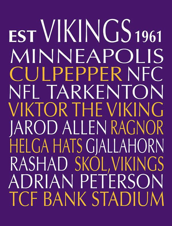 Minnesota Poster featuring the digital art Minnesota Vikings by Jaime Friedman