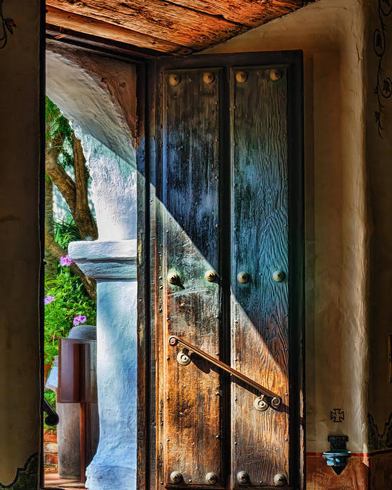 California Mission Poster featuring the photograph Mission Door by Joan Carroll