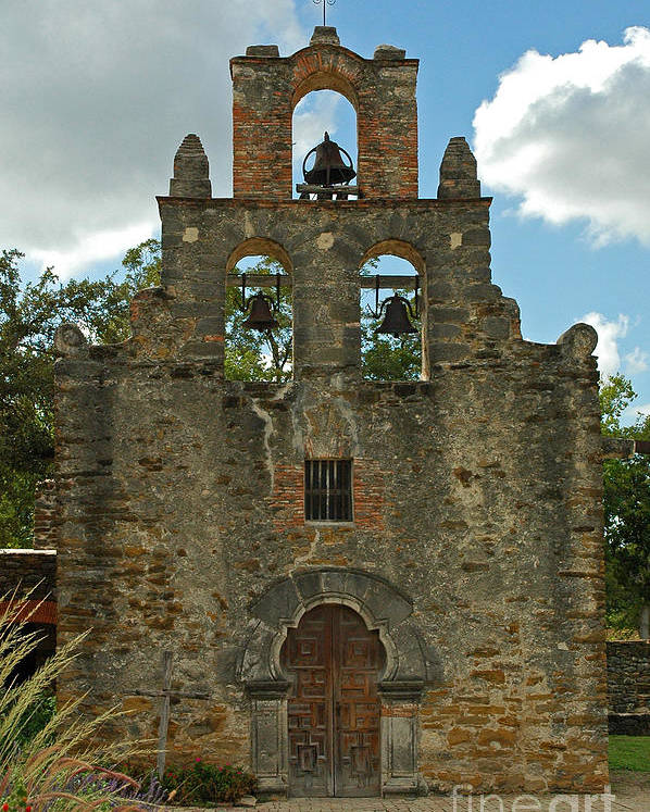 Landscape Poster featuring the photograph Mission Espada by Olivia Hardwicke