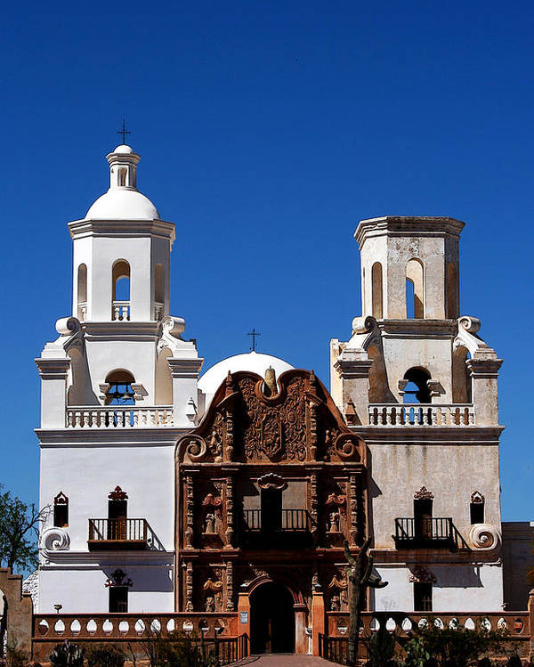 Church Poster featuring the photograph Mission San Xavier Del Bac by Joe Kozlowski
