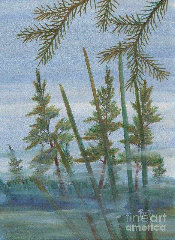 Landscape Poster featuring the painting Mist In The Marsh by Robert Meszaros