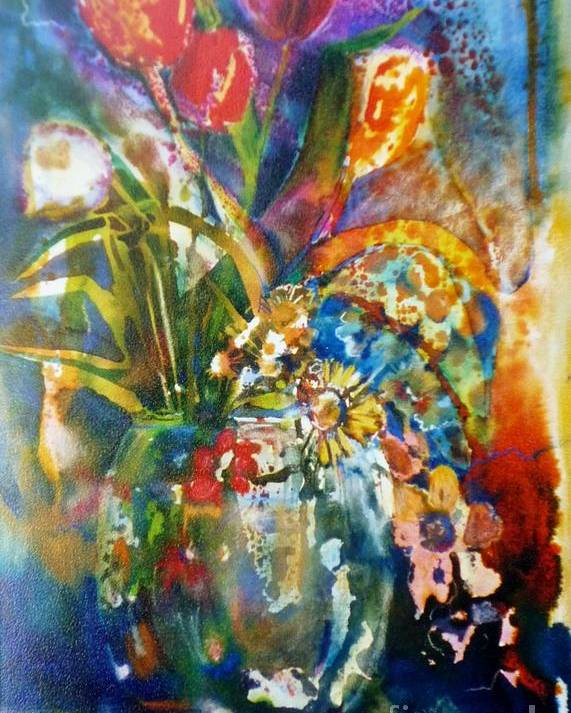 Mixed Poster featuring the painting Mixed Media Tulips by Donna Acheson-Juillet