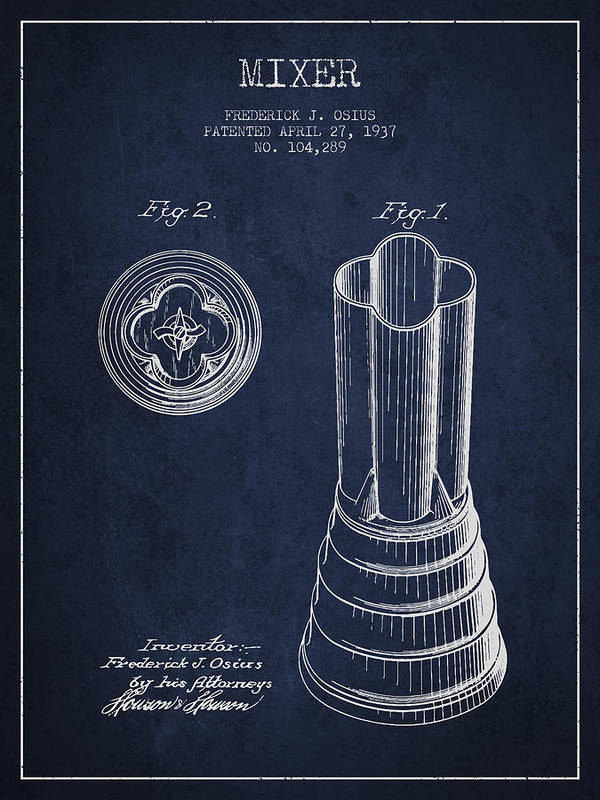 Blender Poster featuring the digital art Mixer Patent From 1937 - Navy Blue by Aged Pixel