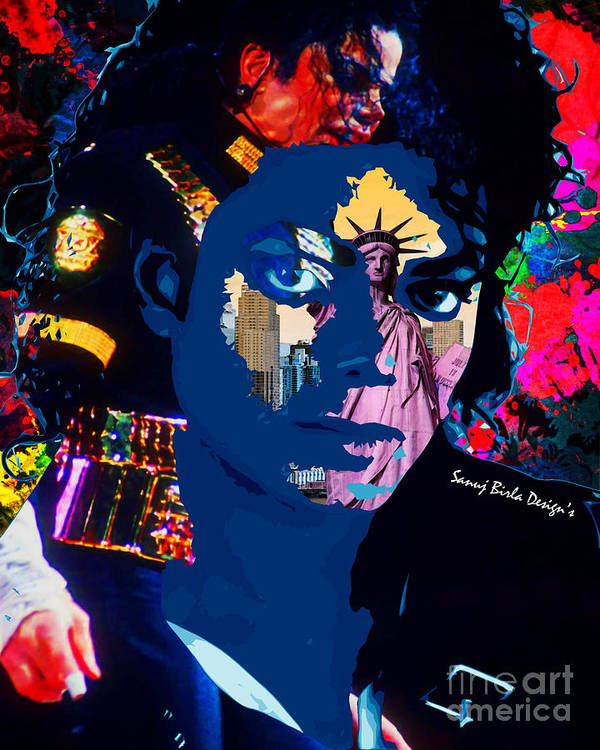 Michaeljackson Poster featuring the digital art Mj Visits Nye by Sanuj Birla
