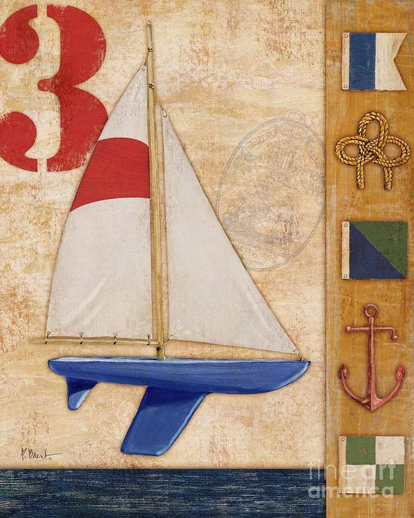 Red Poster featuring the painting Model Yacht Collage II by Paul Brent