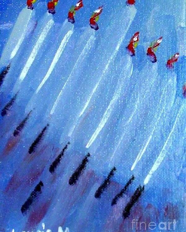 Menorah Poster featuring the painting Modern Menorah by Laurie Morgan