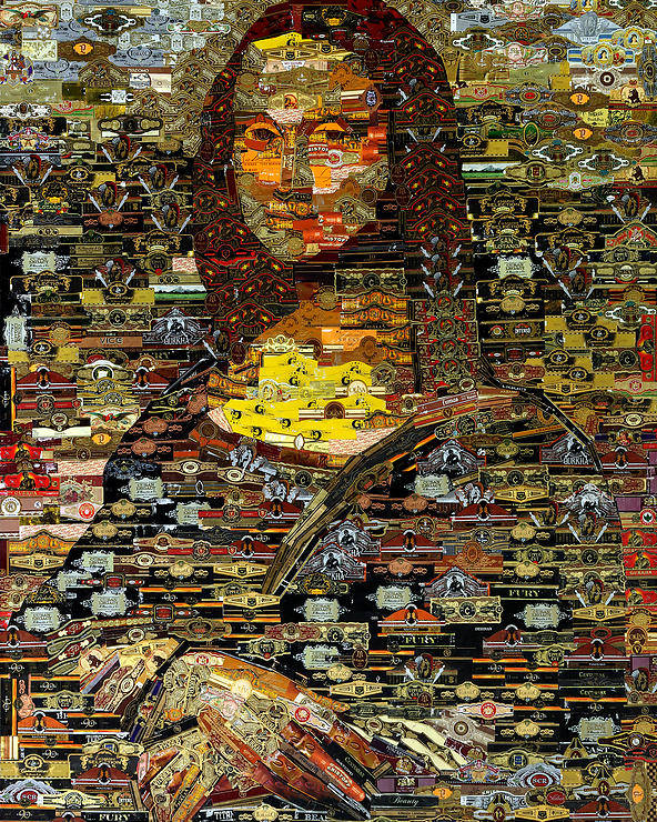 Cigar Bands Poster featuring the mixed media Mona Lisa by Alexander Gashunin