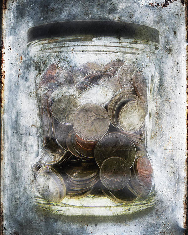 Affluence; Anguish; Avant-garde; Banking; Blue; Broke; Brown; Change; Close-up; Coins; Color; Conceptual; Cool; Currency; Despair; Detail; Dime; Dream; Economy; Freeze; Glisten; Gloomy; Glow; Hope; Ice; Jar; Maintained; Many; Memory; Money; Nickle; Old; Penny; Poverty; Quarter; Rough; Saving; Security; Shimmer; Shine; Silver; Still Life; Surreal; Texture; United States Currency; Vertical; Wealth; Weathered; Worn; Money In A Jar; Frozen Money; Money In Ice; Saving Money Poster featuring the photograph Money Frozen In A Jar by Skip Nall