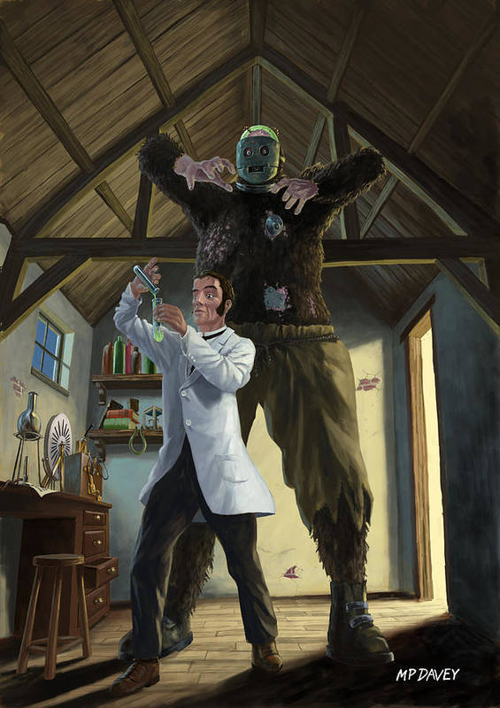 Monster Poster featuring the painting Monster In Victorian Science Laboratory by Martin Davey