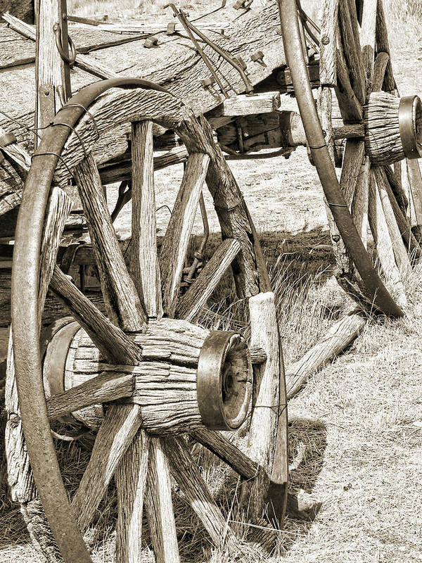 Wheel Poster featuring the photograph Montana Old Wagon Wheels In Sepia by Jennie Marie Schell