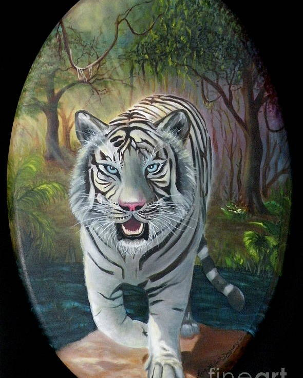 White Tiger Poster featuring the painting Montecore The Enchanter by Lora Duguay
