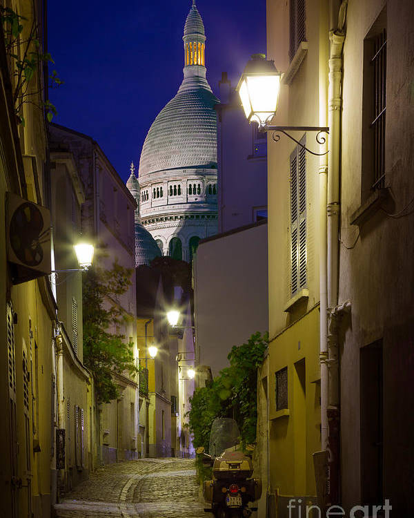 Christianity Poster featuring the photograph Montmartre Street And Sacre Coeur by Inge Johnsson