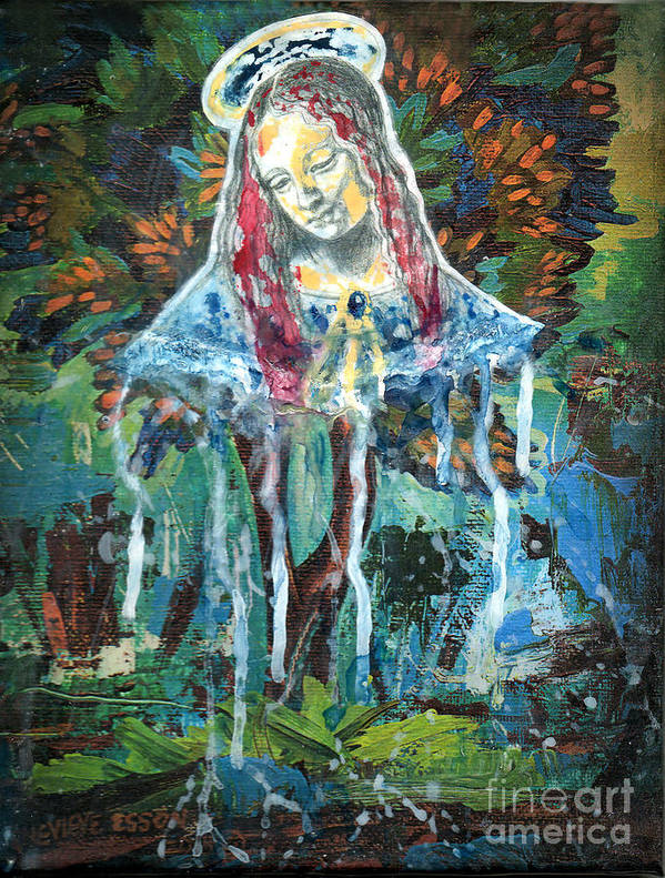 Mary Poster featuring the painting Monumental Tree Goddess by Genevieve Esson