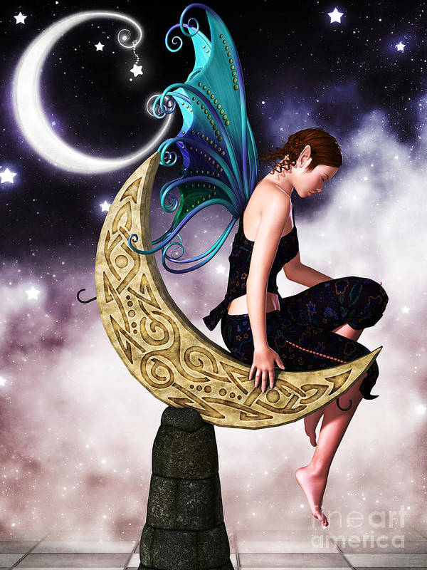 3d Poster featuring the digital art Moon Fairy by Alexander Butler