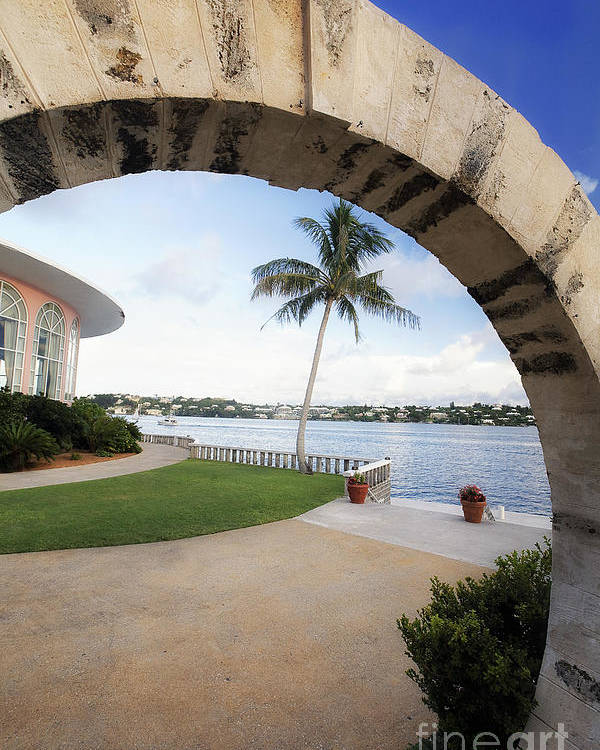 Arch Poster featuring the photograph Moon Gate In Bermuda by George Oze