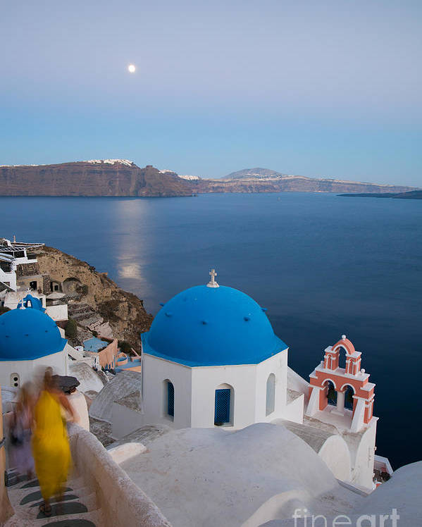 Church Poster featuring the photograph Moon Over Blue Domed Church In Oia Santorini Greece by Matteo Colombo