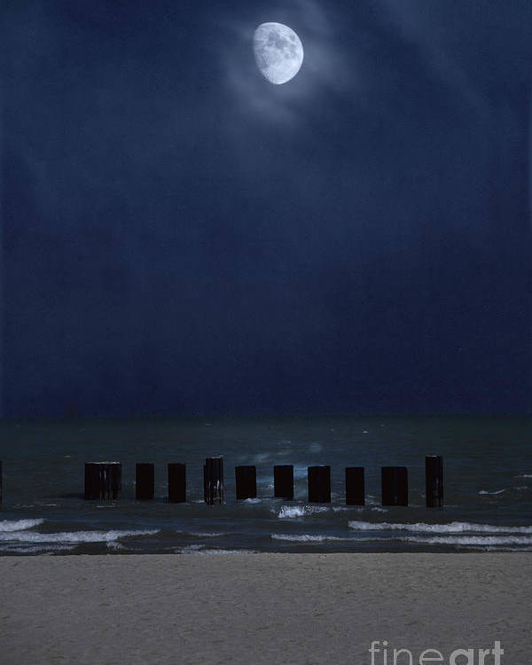Water Poster featuring the photograph Moon Over Waters by Margie Hurwich