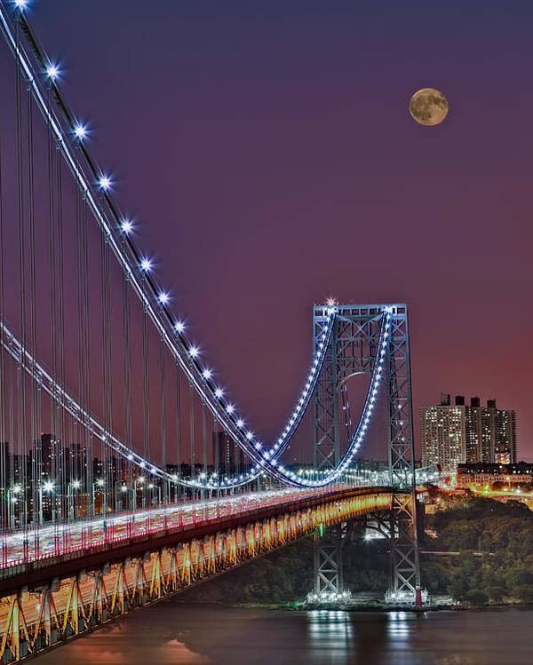 Full Moons Poster featuring the photograph Moon Rise Over The George Washington Bridge by Susan Candelario