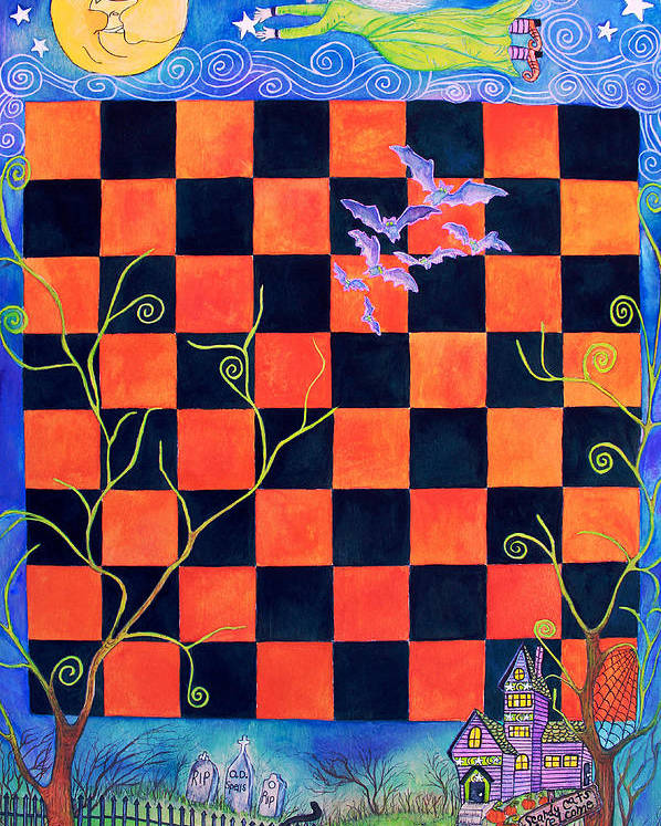 Halloween Poster featuring the painting Flight Of The Moon Witch Checkerboard by Janet Immordino