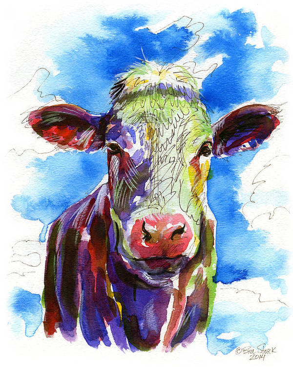 Funky Poster featuring the painting Moooo by Bill Stork