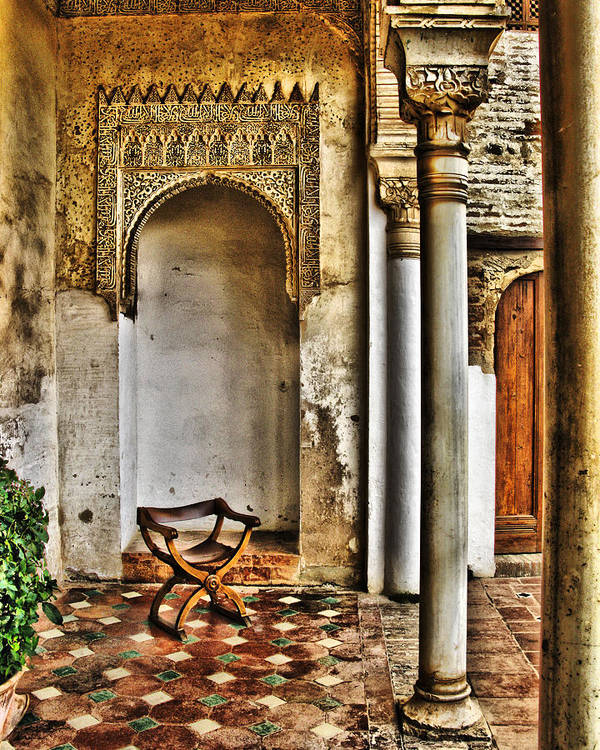 Chair Poster featuring the digital art Moorish Chair And Alcove At The Alhambra by Greg Matchick
