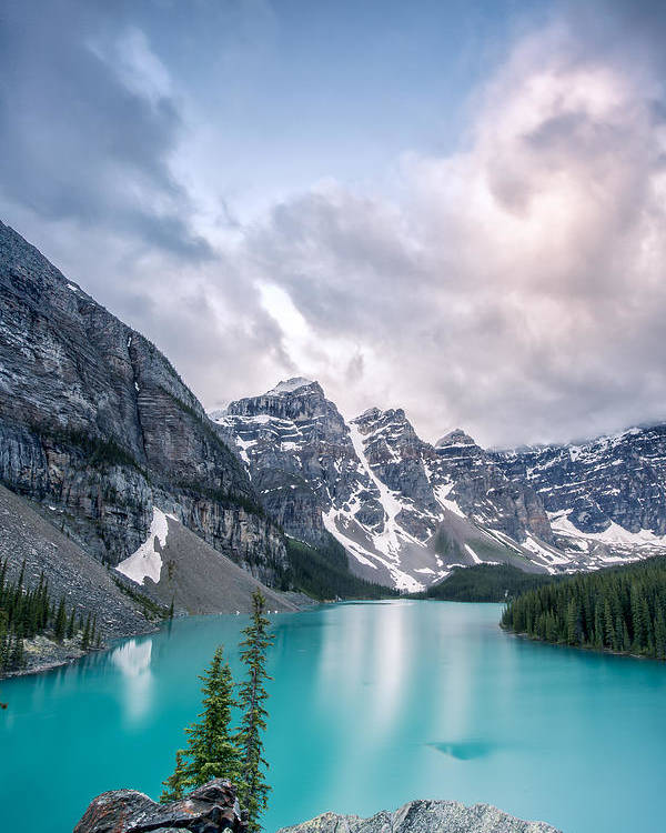 Vertical Poster featuring the photograph Moraine Cloud Burst by Jon Glaser