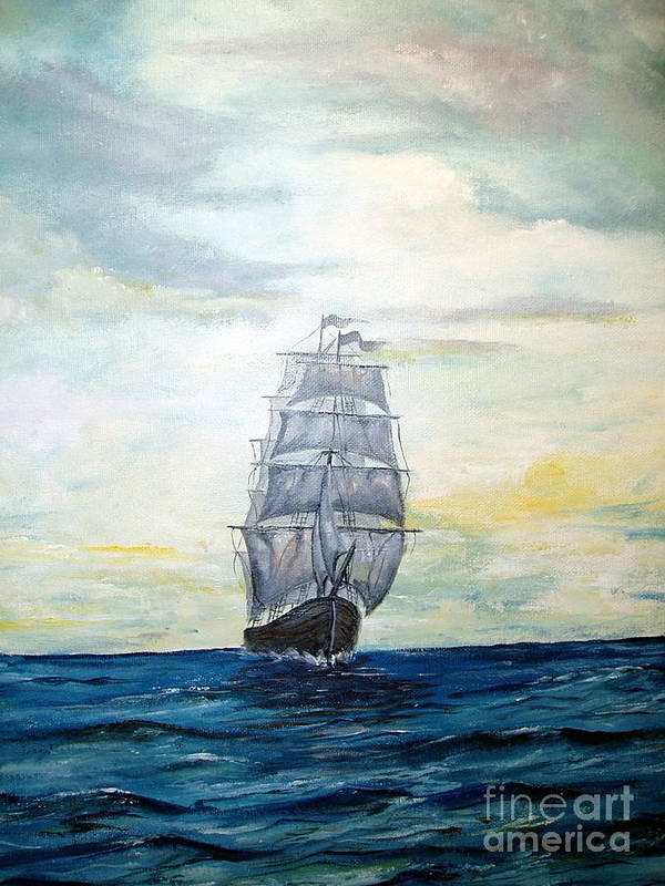 Lee Piper Poster featuring the painting Morning Light On The Atlantic by Lee Piper