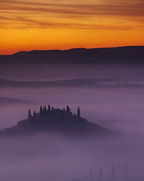 Tuscany. Tuscan. Toscana Poster featuring the photograph Morning Tuscan Mist by Andrew Soundarajan