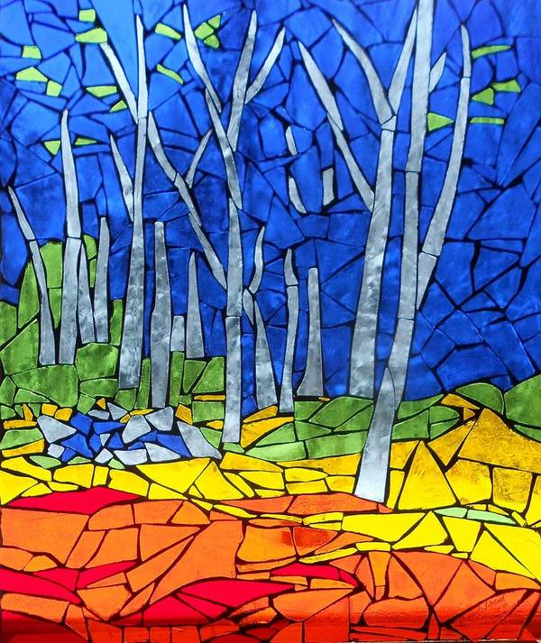 Stained Glass Poster featuring the glass art Mosaic Stained Glass - My Woods by Catherine Van Der Woerd