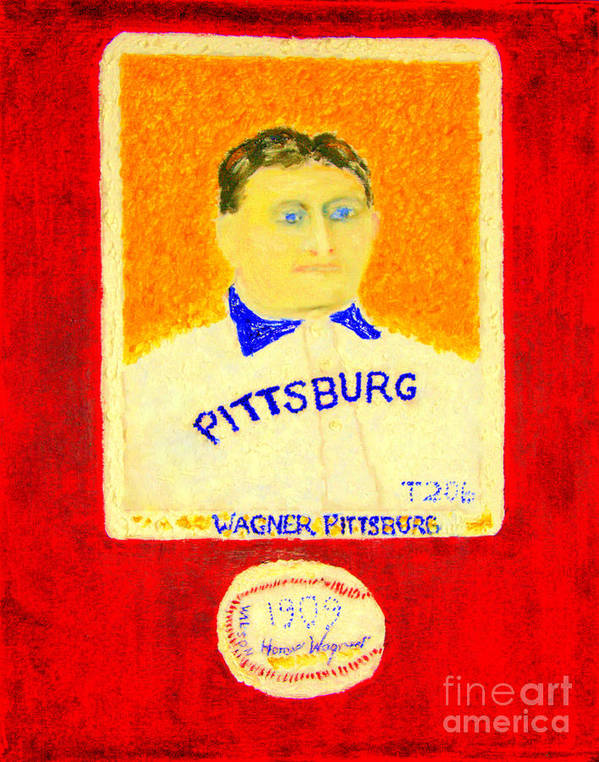 Honus Wagner Poster featuring the painting Most Expensive Baseball Card Honus Wagner T206 2 by Richard W Linford