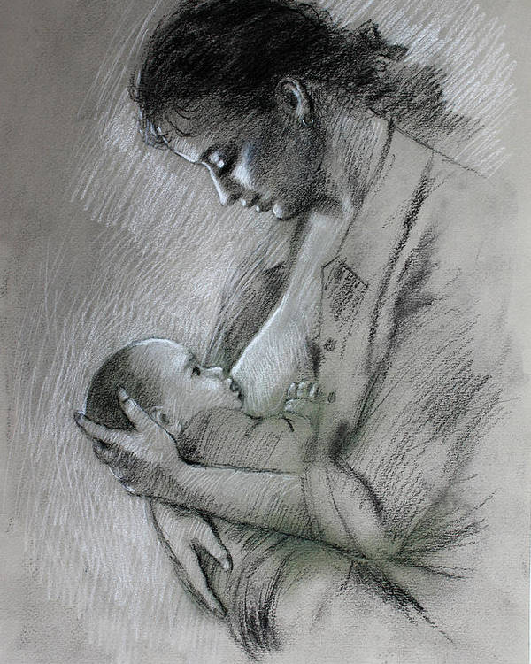Mother Poster featuring the drawing Mother And Baby by Viola El