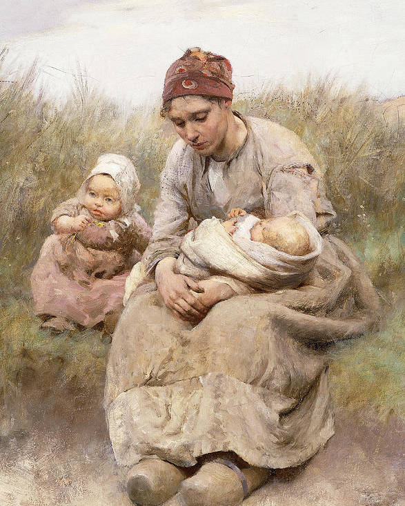 Adult; Apparel; Artwork; Baby; Child; Clothing; Country; Depressed; Difficulty; Dress; Family; Female; Fine Art; Full-length; Kid; Late Nineteenth Century; Mcgregor; Mom; Oil On Canvas; Painting; Parent; People; Poor; Posture; Road; Robert Mcgregor; Roadside; Rural; Sand Dune; Seated; Third Class; Toddler; Unhappy; Women; Youth; Poster featuring the painting Mother And Child by Robert McGregor