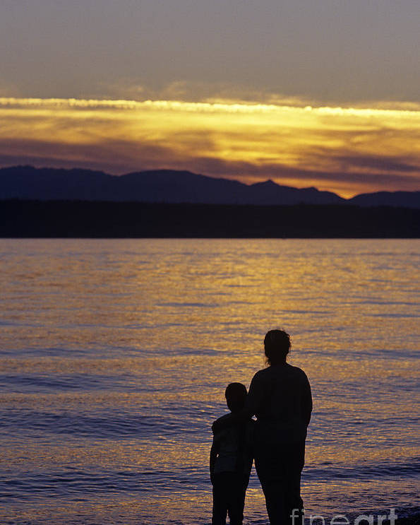 Travel Poster featuring the photograph Mother And Daughter Holding Each Other Along Edmonds Beach At Su by Jim Corwin