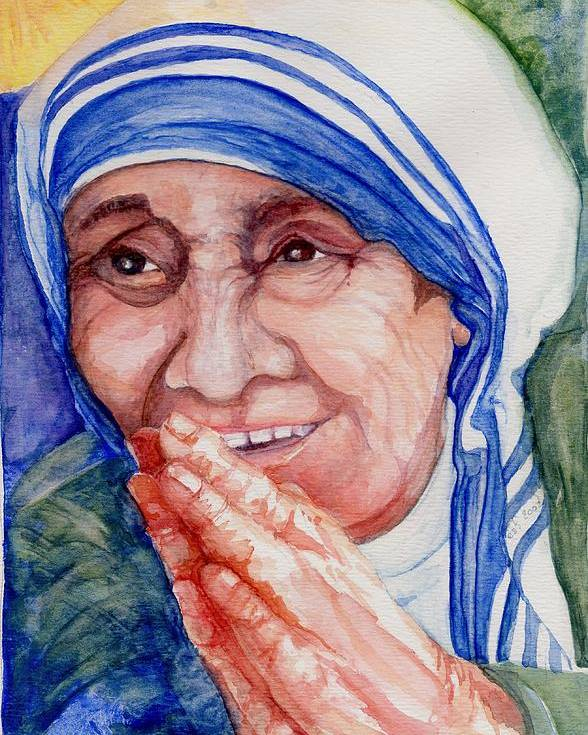 Elle Fagan Poster featuring the painting Mother Teresa by Elle Smith Fagan