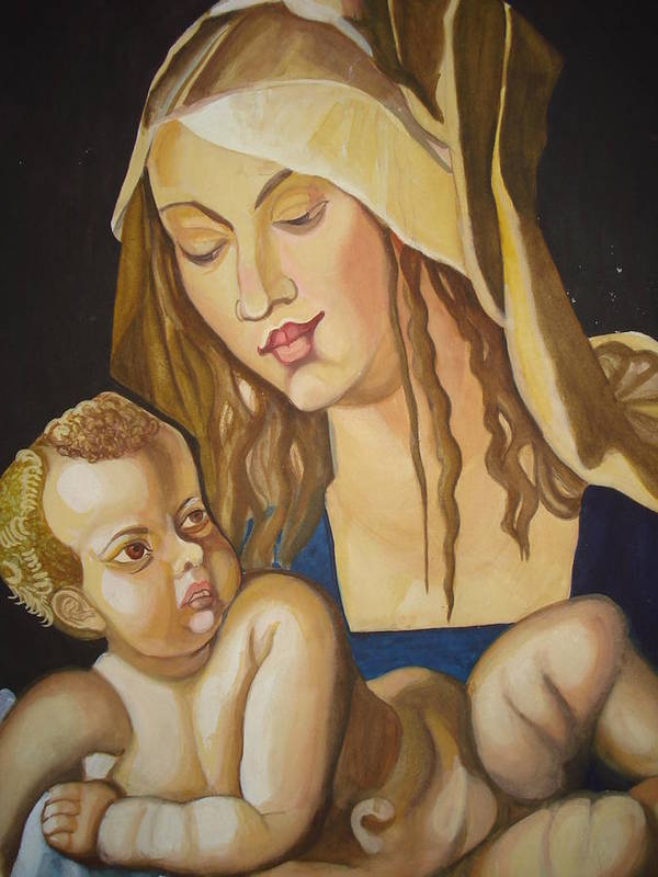 Mother Poster featuring the painting Mother With Her Child by Prasenjit Dhar