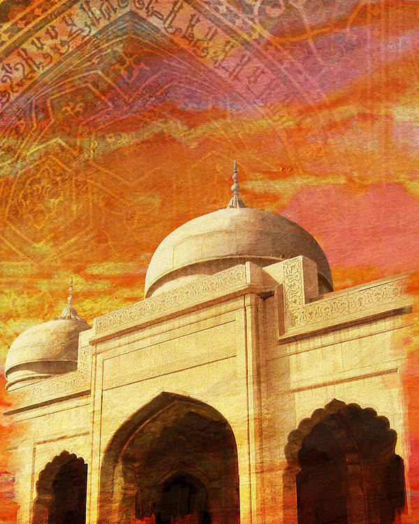 Pakistan Poster featuring the painting Moti Masjid by Catf