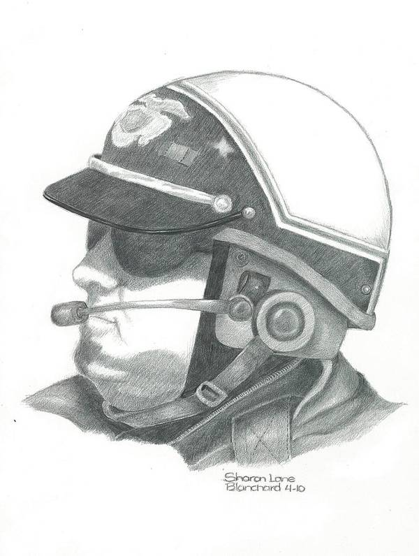 Motorcycle Poster featuring the drawing Motorcycle Officer On The Job by Sharon Blanchard