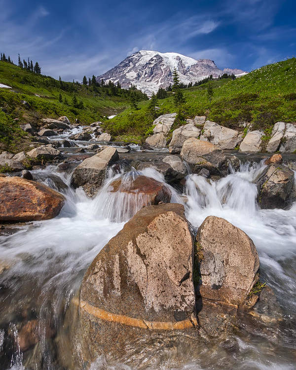 3scape Poster featuring the photograph Mount Rainier Glacial Flow by Adam Romanowicz