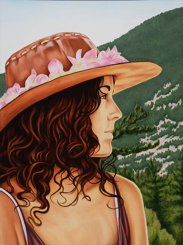 Realistic Poster featuring the painting Mountain Beauty by Charles Luna