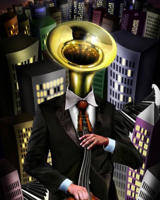 Tuba Poster featuring the digital art Mr Blue by Alessandro Della Pietra