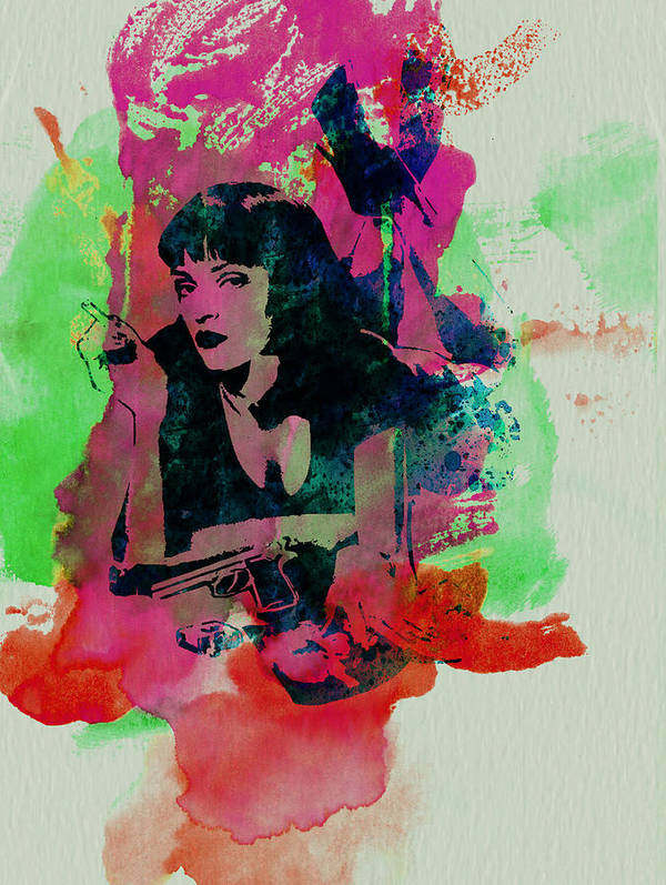 Pulp Fiction Poster featuring the painting Ms Wallace by Naxart Studio