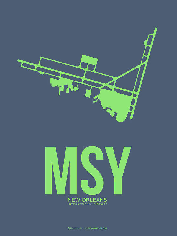 New Orleans Poster featuring the digital art Msy New Orleans Airport Poster 2 by Naxart Studio