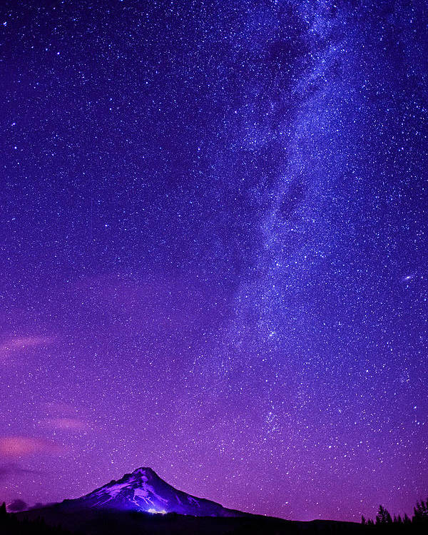 Milky Way Poster featuring the photograph Mt. Hood Milky Way 01 by Lori Grimmett