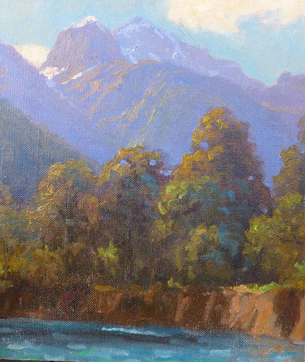 Landscape Poster featuring the painting Mt. Tewhero Holyford V.landscape by Terry Perham